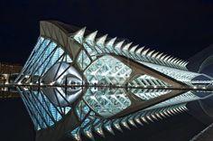 """Night view of the """"Museu de les Ciencies Princep Felipe"""" of Valencia (Spain)"""