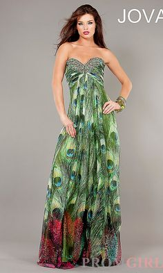 Long Strapless Peacock Print Gown