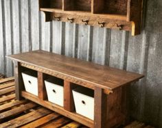 Reclaimed Barnwood Three Cubby Bench & Shelf Cubby Set from Echo Peak Design Wood Pallet Tables, Pallet Furniture, Rustic Furniture, Wood Pallets, Modern Furniture, Handmade Furniture, Pallet Wood, Cheap Furniture, Pallet Seating