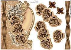 Over the edge vintage brown roses on Craftsuprint designed by Marijke Kok - Over the edge vintage brown roses,a very beautiful design in lovely color... - Now available for download!