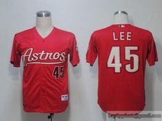 astros 45 carlos lee red embroidered mlb jersey