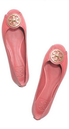 Tory Burch Selma Open Toe Ballet Flat in Raspberry Sorbet...Also available in Navy and Bleach!