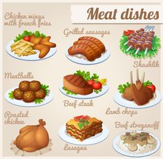 set of food icons. chicken wings with french fries grilled sausages shashlik meatballs beef steak lamb chops roasted chicken lasagna beef stroganoff. Roasted Lamb Chops, Roasted Chicken, Breakfast Clipart, Food Clipart, Grilled Sausage, Food Icons, Beef Stroganoff, Food Drawing, Beef Steak