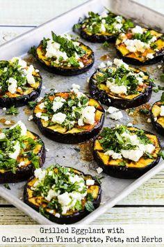 Grilled Eggplant with Garlic-Cumin Vinaigrette, Feta, and He.- Grilled Eggplant with Garlic-Cumin Vinaigrette, Feta, and Herbs - Garlic Recipes, Veggie Recipes, Vegetarian Recipes, Healthy Recipes, Dinner Recipes, Recipes With Feta, Veggie Bbq, Feta Cheese Recipes, Herb Recipes