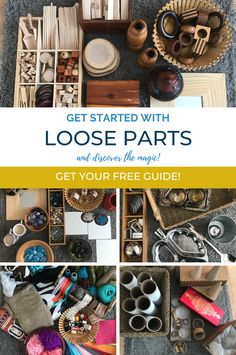 Learn how to get started with Loose Parts for ALL ages!  This FREE guide is filled with inspiration, inventory lists of all categories, tools to educate parents and a source of support for you in your continued learning.    If you have been hesitant to bring these amazing materials into your learning environments or home, this will give you all the information you need to get going.  Enjoy! Children Activities, Montessori Activities, Preschool Curriculum, Homeschool, Learning Environments, Reggio, Parents, Classroom, Tools