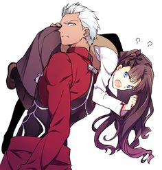 """""""Put me down, Archer!"""" Rin protested plentifully. Archer, annoyed, dolly said """"Stubborn Rin,"""" he muttered, """"just be quiet and let me help you."""" Cuteness just keeps shooting through the roof with these two around. (Fate/Stay night)"""