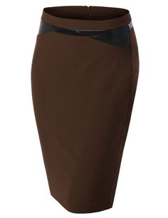LE3NO Womens Fitted High Waisted Pencil Skirt With Faux Leather Details (CLEARANCE)