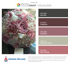 I found these colors with ColorSnap® Visualizer for iPhone by Sherwin-Williams: Iron Ore (SW 7069), Cordovan (SW 6027), Concerto (SW 6298), Softened Green (SW 6177), Rita's Rouge (SW 9003).