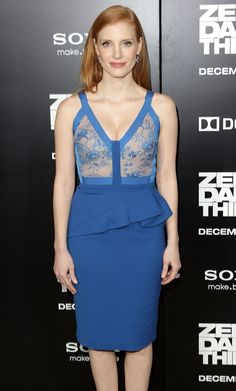 Jessica Chastain in Elie Saab with Charlotte Olympia shoes and Harry Winston jewelry at the 'Zero Dark Thirty' premiere in Hollywood, California, Dec. 2012