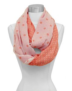 cdbc7e22aaa Polka Dot Infinity Scarf in Sorbet on Emma Stine Limited Cozy Scarf