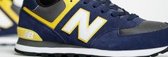 574 New Balance, Navy with Yellow & Grey