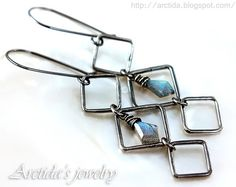 Asteria - Labradorite earrings oxidized sterling silver square hoops. Handmade Labradorite jewelry by Arctida. | Flickr - Photo Sharing!