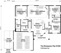 The Shorewood, Plan 1550 Great Rooms, Ranch, Floor Plans, Flooring, How To Plan, Bedroom, Home, Guest Ranch, House