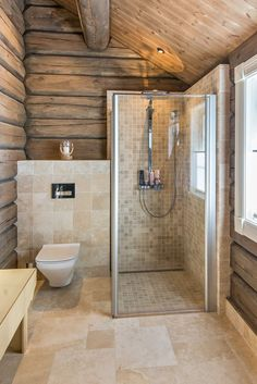 Shower room in a wooden house! How do you like this design? In my opinion it looks very . Best Bathroom Designs, Bathroom Trends, Bathroom Renovations, Remodel Bathroom, Bathroom Ideas, Bathroom Organization, Bathroom Storage, Casa Santa Rita, Log Cabin Bathrooms