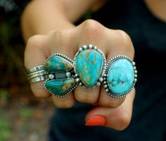 RESERVED Turquoise Statement Ring Turquoise Ring by SterlingToLove