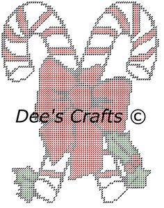 CANDY CANE with Bow - Christmas Collection - CUTOUT - Wall Hanging - Plastic Canvas Pattern by DeesCrafts2012 on Etsy