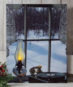 Loving this Oil Lamp in Window Light-Up Canvas on #zulily! #zulilyfinds