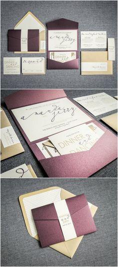 Modern Wedding Invitations, Metallic Wedding Invitation, Eggplant, Purple, & Gold, Modern Calligraphy - Pocketfold