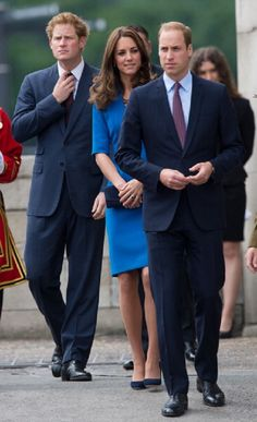 (L-R) Prince Harry, Catherine, Duchess of Cambridge and Prince William, Duke of Cambridge visit The Tower Of London's Ceramic Poppy installation 'Blood Swept Lands and Seas of Red' by artist Paul Cummins, commemorating the 100th anniversary of the outbreak of First World War on 05.08.2014 in London, England.