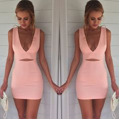 NEW Women Sexy V Neck Sleeveless Party Bodycon Evening Cocktail Short Mini Dress #Unbranded #StretchBodycon #Cocktail