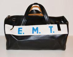 Vintage Black EMT Duffle Bag Gym Bag Overnight by founditinatlanta, $50.00