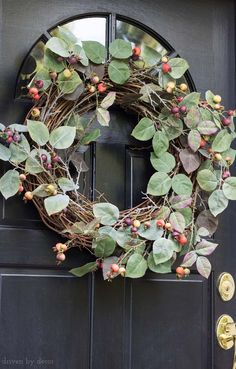 The prettiest fall wreath! Love this rose hip wreath for my front door!