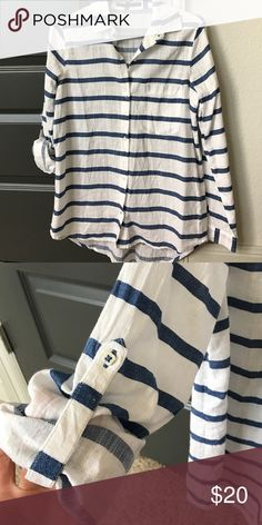 Zara button down Excellent condition worn once or twice features adjustable sleeves as shown Zara Tops Button Down Shirts