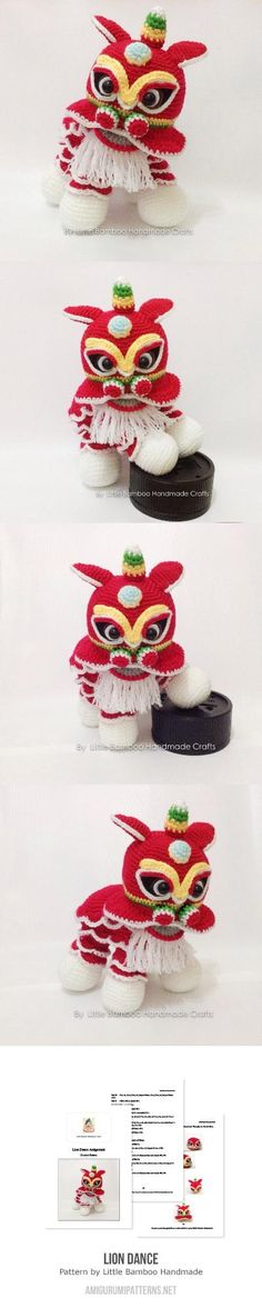 Lion dance amigurumi. (Pattern available to buy). Wow! This is fantastic!!
