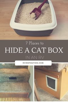 7 Places to Store a Litter Box in an RV Looking for litter box storage ideas for your camper, motorhome, travel trailer, or small apartment? With some ingenuity, a cat's litter pan can be hidden in just about any empty space in an RV. Rv Camping Checklist, Camping Car, Camping Cabins, Camping Essentials, Camping Hacks, Outdoor Camping, Camping With Cats, Family Camping, Cat Litter Pan