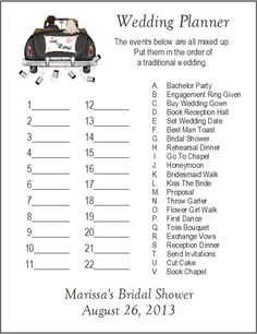 24 Personalized WEDDING PLANNER Bridal Shower Game