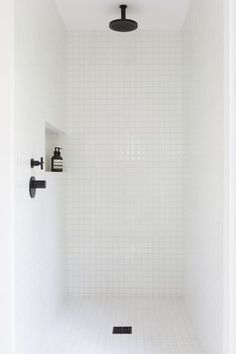 minimalist bathroom white shower w/ORB and shampoo niche Laundry In Bathroom, Bathroom Renos, Small Bathroom, Bathroom Black, Bathroom Fixtures, Bathroom Images, Bathroom Ideas, Bathroom Designs, White Mosaic Bathroom