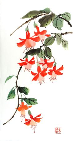 "This image was inspired by the beauty of nature and given the twist of color. Chinese Brush Painting or Sumi-e is a traditional form of Asian art using Watercolor Chinese Brush Painting – ""Fuchsia II"" Japanese Watercolor, Japanese Painting, Japanese Art, Watercolor Flowers, Watercolor Paintings, Sumi E Painting, Chinese Flowers, Chinese Painting Flowers, Frida Art"