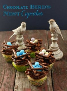 Chocolate Bird's Nest cupcakes  #glutenfree