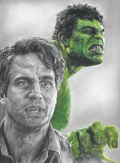 #Hulk #Fan #Art. (Drawing of Hulk / Bruce Banner) By: Mark Ruffalo. (THE * 5 * STÅR * ÅWARD * OF: * AW YEAH, IT'S MAJOR ÅWESOMENESS!!!™)............