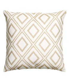 White/Patterned. Jacquard-weave cushion cover in a cotton blend containing glittery threads with a solid-colour back and concealed zip.