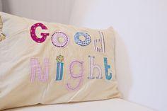 Good night fabric applique pillow