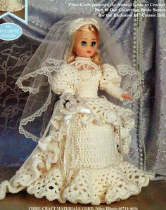 PDF Vintage Dolls 'Victorian' Lacy Bride Dress Costume Crochet Pattern, Antique Doll, Vintage Doll, Modern Doll, Fashion Dollx
