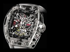 Limited to five pieces in the world, the Richard Mille RM 56 Felipe Massa Sapphire watch has a tourbillon movement that's completely covered in sapphire crystal. Richard Mille, Dream Watches, Fine Watches, Cool Watches, Men's Watches, Watches Online, Fashion Watches, Skeleton Watches, Expensive Watches