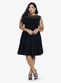 Plus Size Wedding Guest Dresses for Summer - black tea length dress with cap sleeves