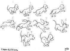 Animation walk cycle, posture drawing, running cartoon, frame by frame anim
