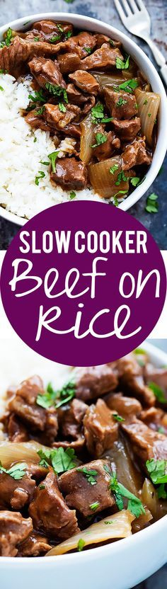 Slow Cooker Beef on Rice - Savory beef and gravy slow cooked to tender perfection and served over rice!