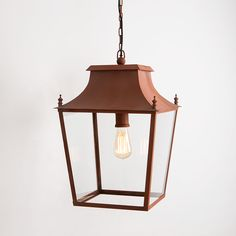 Blenheim Hanging Lantern Large Italian Terracotta by A Place In The Garden Corten Steel, Hanging Lanterns, Outdoor Lighting, Terracotta, Garden Design, Ceiling Lights, Rustic, Pendant, Home Decor