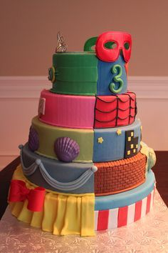 Super Heroes/Princess Birthday Cake LOVE this idea for a girl and boys birthday :)