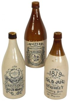 Advertising stoneware whiskey bottles 1879 Old Jug