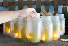 Use mason jars to tell the story of the nativity with The Country Chic Cottage's tutorial. This beautiful golden scene will look lovely in the window, glowing for all passerby's to see.