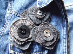 fulled & felted wool pins by PineBlossoms by Jennifer, via Flickr