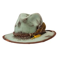 Strike gold with this rugged new style from American Hat Makers. Each piece is distressed by hand for a totally unique look and feel. A vintage fossil leather brim combined with a durable wool felt crown makes this hat not only a stunner in looks, but also a headpiece to last a lifetime. #hats #fedorahats Cowhide Leather, Leather Bag, Felt Crown, Outdoor Hats, Red Carpet Event, Cool Hats, Fedora Hat, Stylish Men, Hats For Men