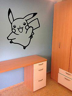 Delightful Pikachu Decal Pokemon Sticker Vinyl Wall Art Decor Gamer Kids Room | EBay Part 32