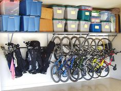 The best way to stay organized is to install storage systems that fit your specific needs. A high shelf keeps excess items out of the way but accessible when needed. And a shelf to hang bikes is a genius solution for freeing up floor space in the garage.