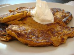 coconut flour pumpkin pancakes gluten free low carb: INGREDIENTS  2 eggs  6 tblspn pumpkin puree  2 tblspn coconut milk  2 tspn coconut oil  2 tbslpn coconut flour  1/2 tspn ground cinnamon  1/4 tspn ground ginger  1/8 tspn allspice  1/2 tspn baking powder  salt  2 tblsn butter for frying